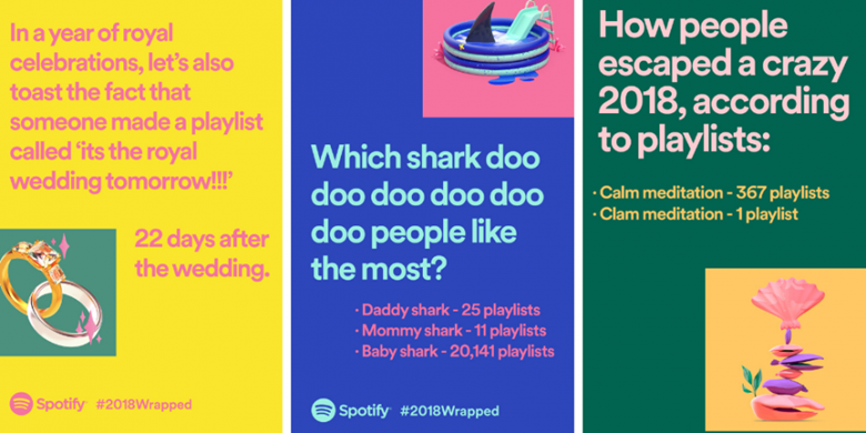 Spotify wrapped screenshot with some stats on how people listened to the music on spotify in 2018