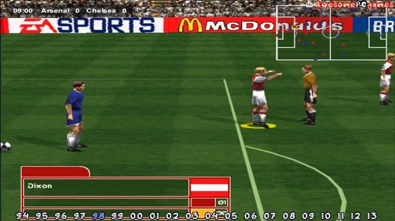 A screenshot from FIFA 98