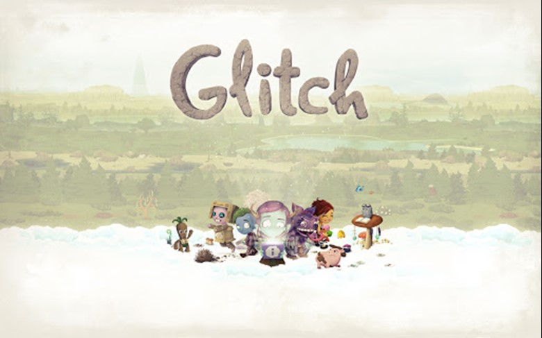 The logo and promotional image for Glitch