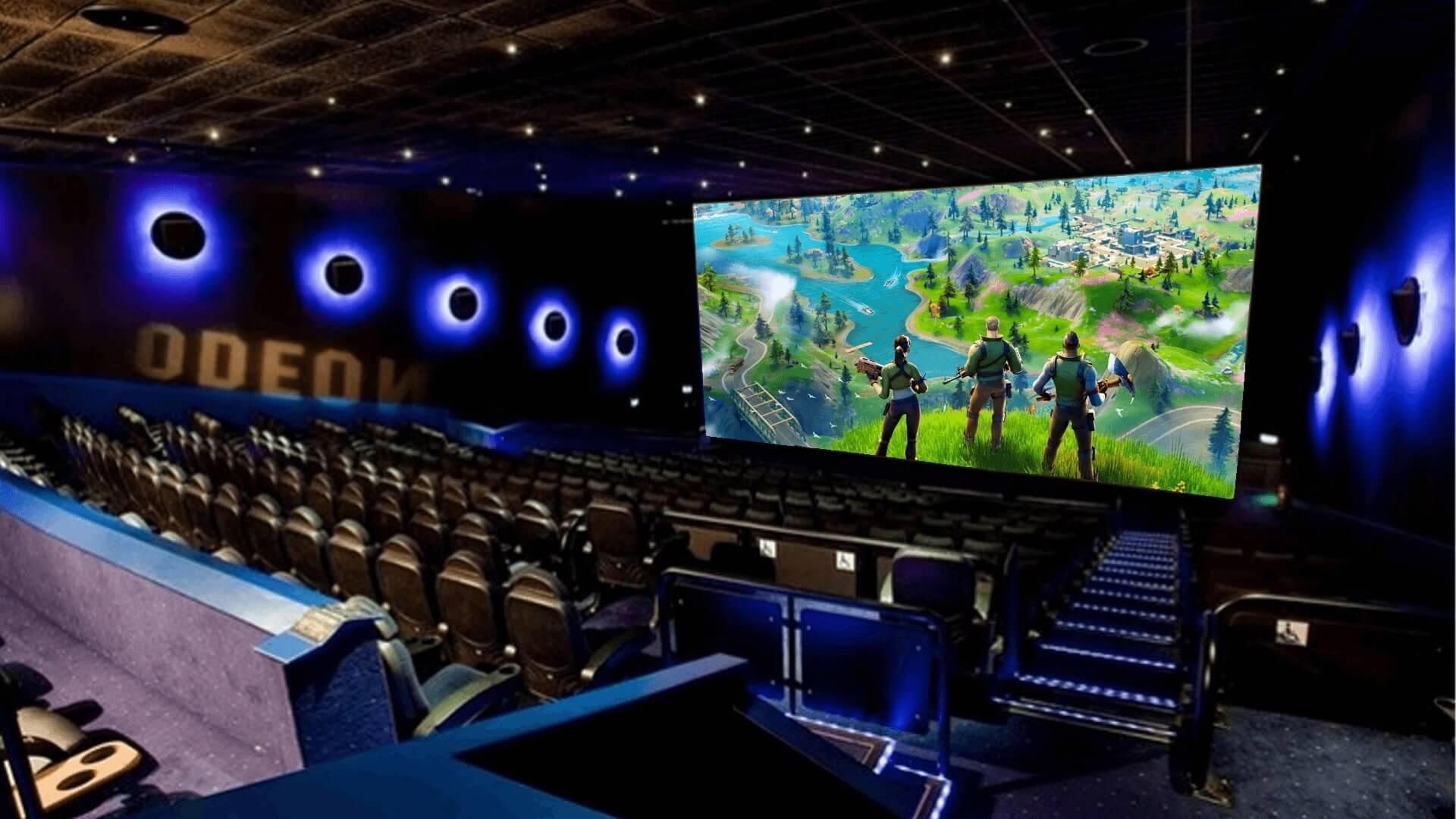 gaming in an odeon cinema screen