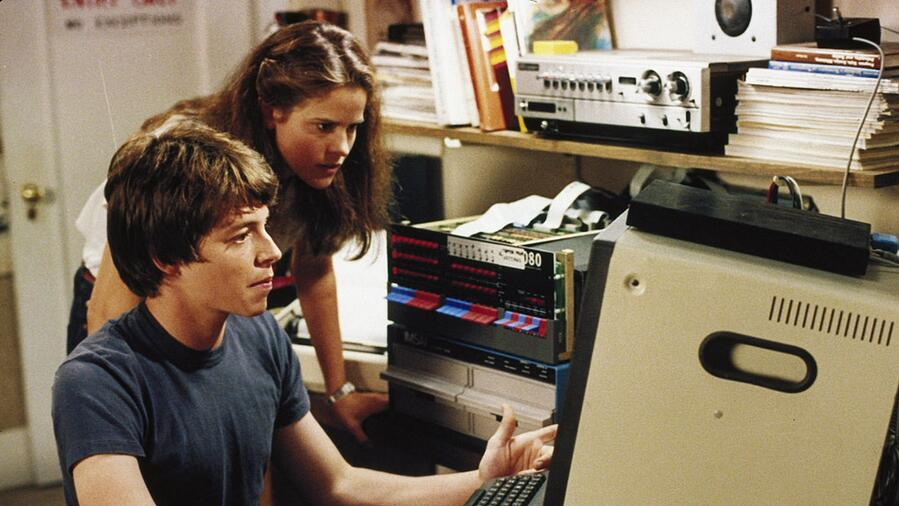A frame from Wargames, a film which helped popularise the idea of the white male nerd in popular culture