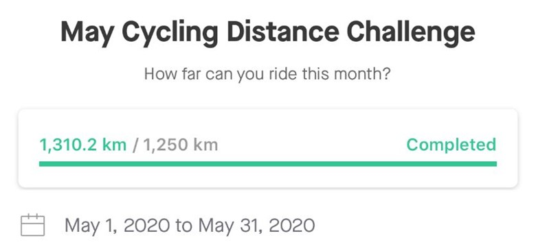 Pete's Strava stats for the May Cycling Distance Challenge