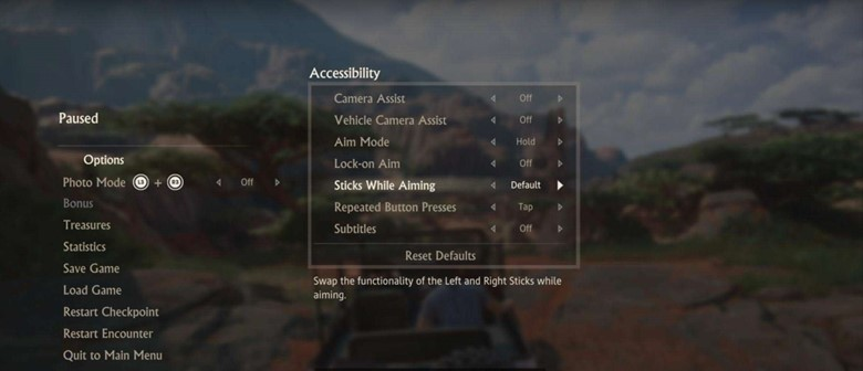 screenshot of uncharted 4s accessibility options