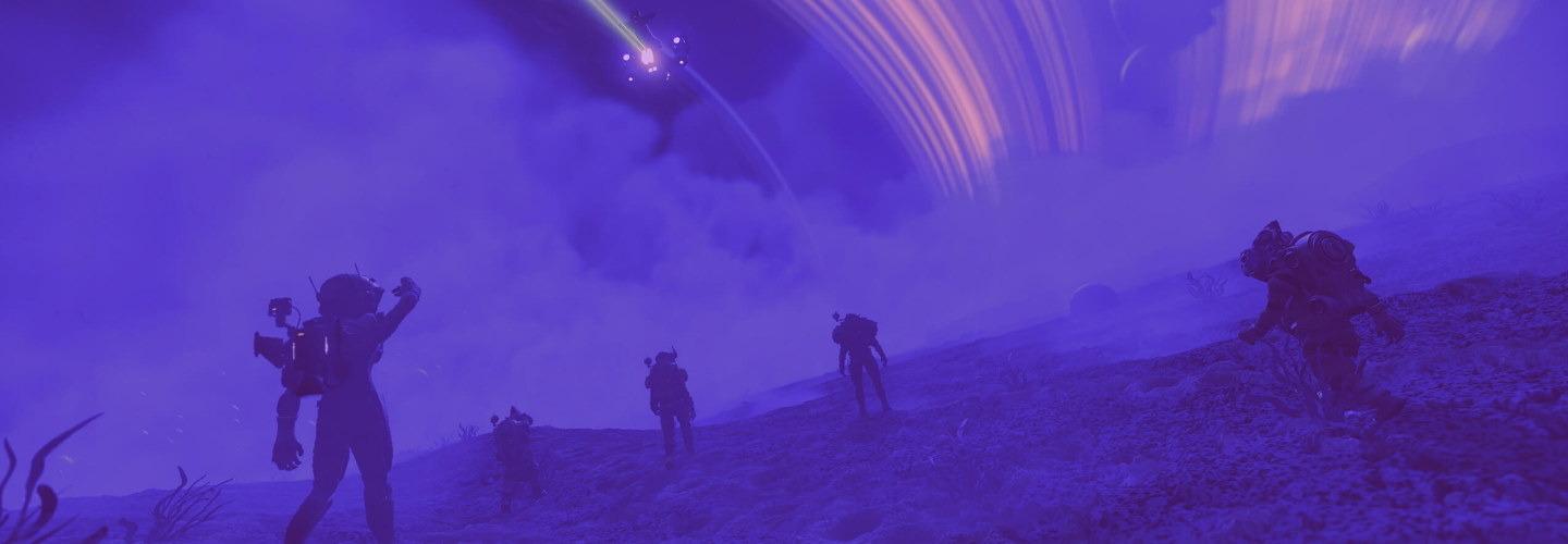 A screenshot of a particularly purple planet in No Man's Sky
