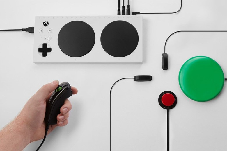 photo of adapative controller and peripherals used with it